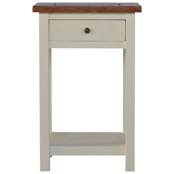 2 Toned Bedisde Table with 1 Drawer & 1 Shelf