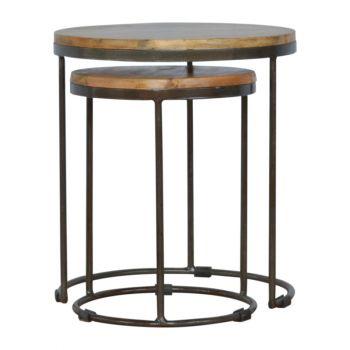 Round stool set of 2 with Iron Base
