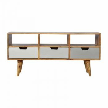 Media Unit with 3 Hand Painted Cut Out Drawers