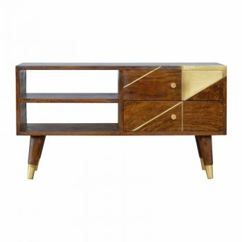 Nordic Style Chestnut Media Unit with Gold Detailing