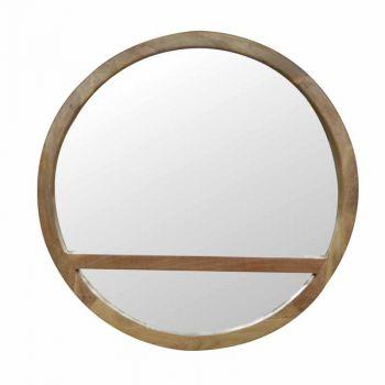 Wooden Round Mirror with 1 Shelf