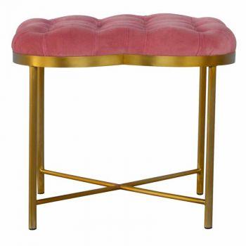 Clover Shaped Deep Button Footstool Upholstered Pink Velvet with Golden Base