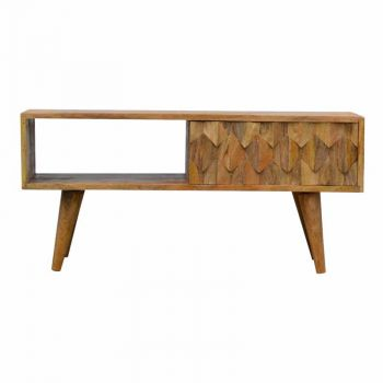 Nordic Style Open Slot Media Unit with Pineapple Carved Sliding Door