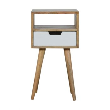 Compact Modern White Painted 1 Drawer Bedside