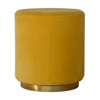 Mustard Velvet Footstool with Gold Base