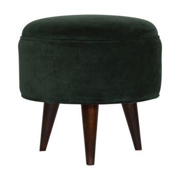 Emerald Velvet Nordic Style Footstool