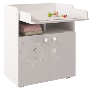 Kidsaw Kudl Kids Changing Board Cupboard with Storage 1270, Teddy Print - White