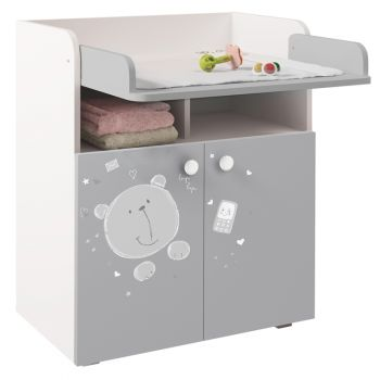 Kidsaw Kudl Kids Changing Board Cupboard with Storage 1270, Teddy Print, White-Grey