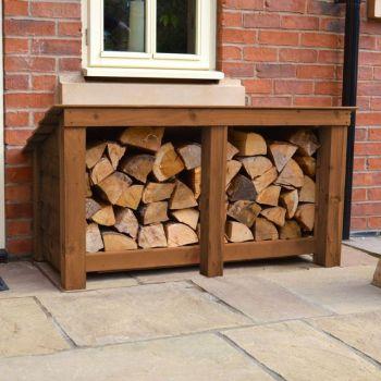 Langham Major Log Store - Rustic Brown