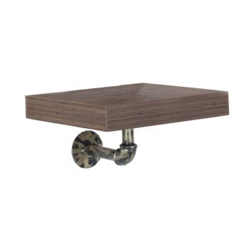 Loft Home Studio Dark Oak & Brass Small Wall Shelf Kit With Pipe Design Brackets