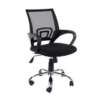 Loft Study Chair in Black Mesh Back, Black Fabric Seat With Chrome Base