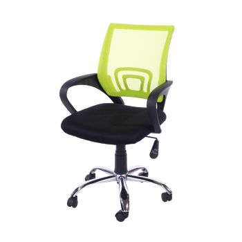 Loft Study Chair in Lime Green Mesh Back, Black Fabric Seat With Chrome Base