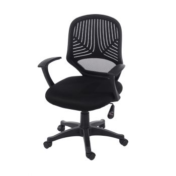 Loft Home Office Chair in Black Mesh Back, Black Fabric Seat With Black Base