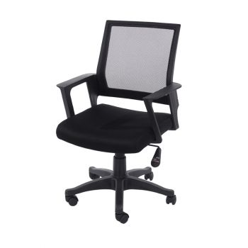 Loft Home Office Chair In Black Mesh Back With Black Fabric Seat With Black Base