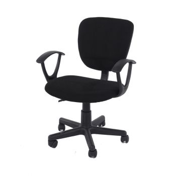 Loft Home Office Study Chair In Black Fabric Black Base