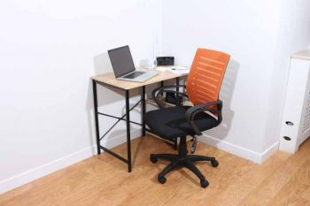 home office chair in black mesh back, orange fabric seat with chrome base