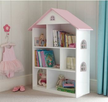 White Dollhouse Bookcase with Pink Roof