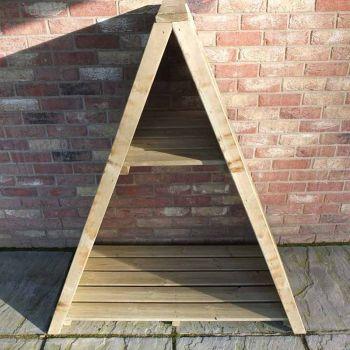 "Large Triangular 3' 11\"" x 2' Overlap Pressure Treated Log Store"