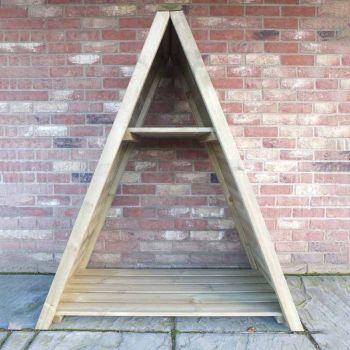 "Large Triangular 3' 11\"" x 2' Tongue & Groove Pressure Treated Log Store"