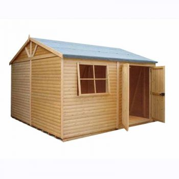 Shiplap Mammoth Loglap 12' x 12' Shed Double Door with One Opening Window