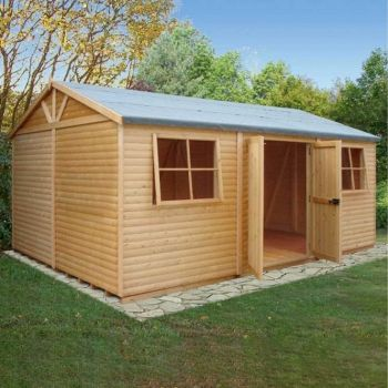 Shiplap Mammoth Loglap 12' x 18' Shed Double Door with Two Opening Window