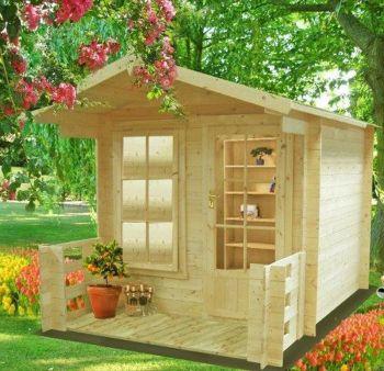 Maulden with veranda Log Cabin Home Office Garden Room Approx 8 x 8 Feet