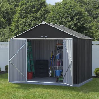 10x8 Double Door Metal Ezee Shed Grey