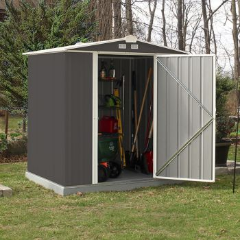 6x5 Single Door Metal Ezee Shed Grey