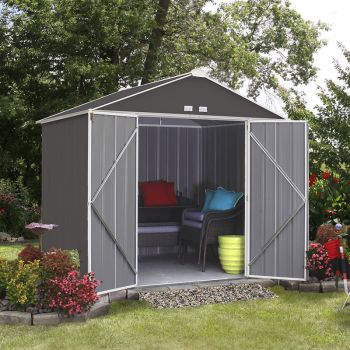 8x7 Double Door Metal Ezee Shed Grey