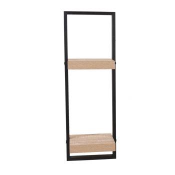 Nova Framed Double Floating Shelf Kit - Oak Effect Shelf With Black Frame