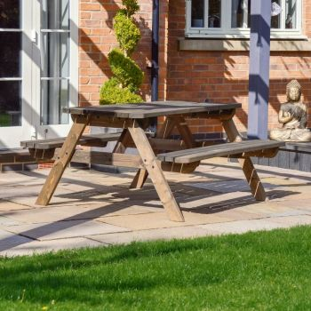 Oakham Rounded Picnic Bench 4ft - Rustic Brown