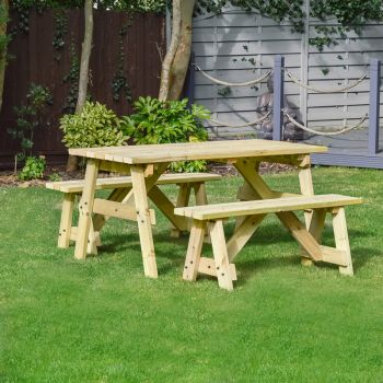 Oakham Picnic Table And Bench Set 4ft Light Green