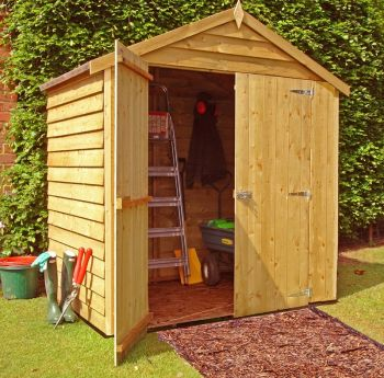 Overlap Double Door Garden Shed - Dip Treated Approx 4 x 6 Feet