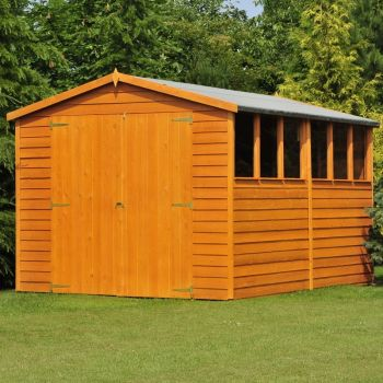 Overlap 10' x 8' Dip Treated Apex Shed Double Door with Windows