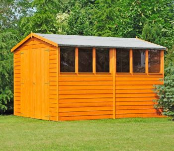 Overlap 10' x 10' Dip Treated Apex Shed Double Door with Windows