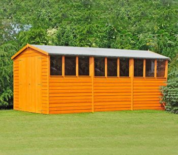 Overlap 10' x 15' Dip Treated Apex Shed Double Door with Windows