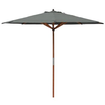 Willington Grey 2.7m Wooden Parasol +15Kg Base