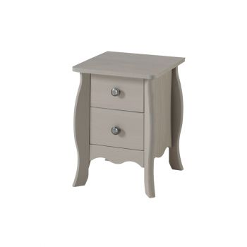 Provence Grey Washed Pine Small 2 Drawer Petite Bedside Cabinet