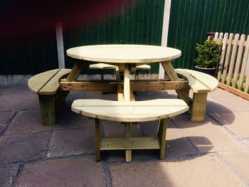 Westwood Round Picnic Table, traditional wooden garden furniture