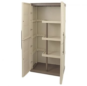 Cabinet with Broom Storage Plastic Garden Store Approx 700Lx390Wx1650H (mm)