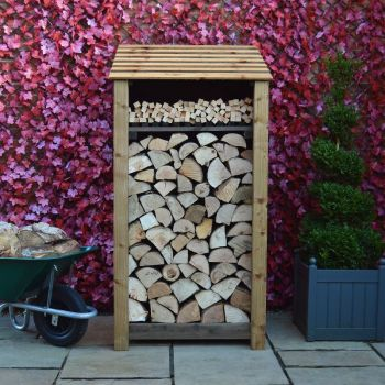 Burley 6ft log store + Kindling Shelf - Rustic Brown