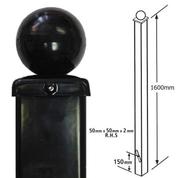 Square Metal Posts Blank Post, Ball Top, Concrete-In 50 mm Sq X 1600 mm