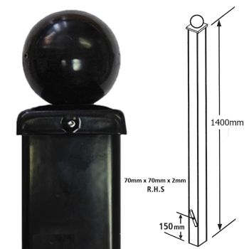 Square Metal Posts Blank Post, Ball Top, Concrete-In 70 mm Sq X 1400 mm