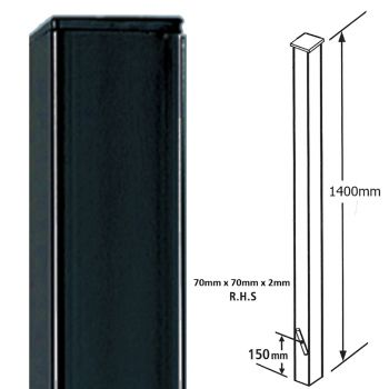 Square Metal Posts Blank Post, Flat Top, Concrete-In 70 mm Sq X 1400 mm