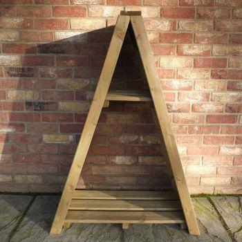 """Small Triangular 2' 8\"""" x 1' 4\"""" Overlap Pressure Treated Log Store"""