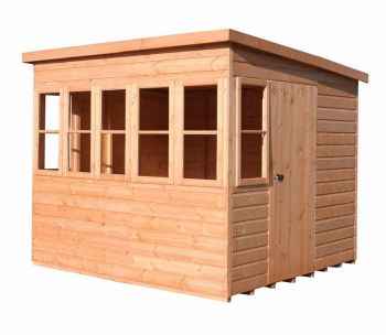 Sun Pent 8' x 8' Single Door with Seven Windows Dip Treated Wooden Garden Potting Shed