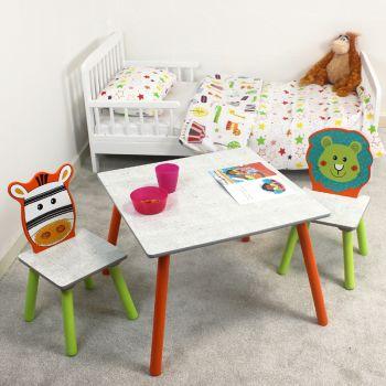 Lion and Zebra Jungle Safari Table and Chairs Set