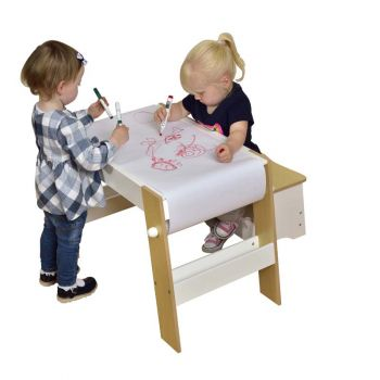 Kids White & Pine Play Table and Stool