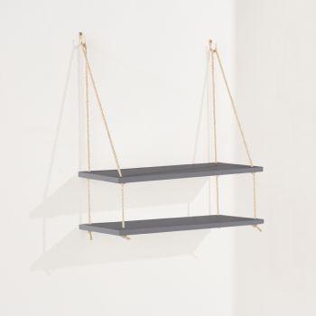 Thames Double Rope Shelf, Grey Effect Foil Finish