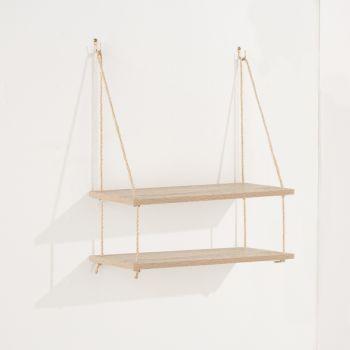 Thames Double Rope Shelf, Oak Effect Foil Finish